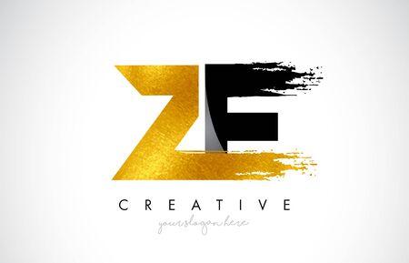 ZE Letter Design with Brush Stroke and Modern 3D Look Vector Illustration.