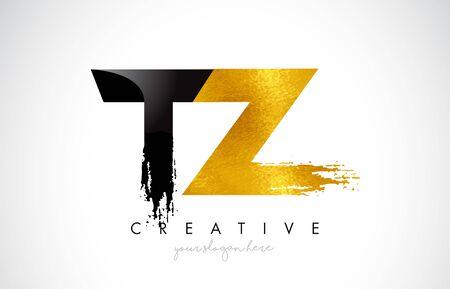 TZ Letter Design with Brush Stroke and Modern 3D Look Vector Illustration. Vektoros illusztráció
