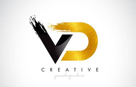 VD Letter Design with Brush Stroke and Modern 3D Look Vector Illustration. Vektoros illusztráció
