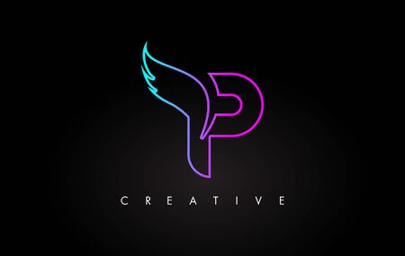 Neon P Letter Logo Icon Design with Creative Wing in Blue Purple Magenta Colors Vector Illustration.