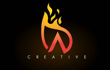 Flame A Letter Design Icon with Orange Yellow Colors and Flames  Vector Illustration.