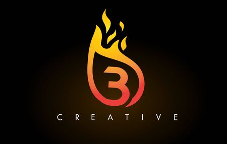 Flame B Letter Design Icon with Orange Yellow Colors and Flames  Vector Illustration.