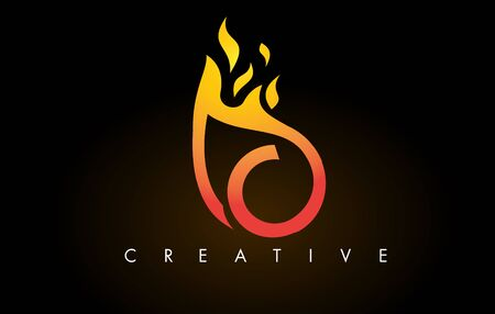 Flame C Letter Design Icon with Orange Yellow Colors and Flames  Vector Illustration. Stock Illustratie