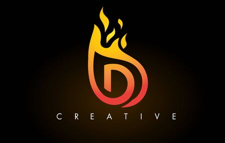 Flame D Letter Design Icon with Orange Yellow Colors and Flames  Vector Illustration. Stock Illustratie