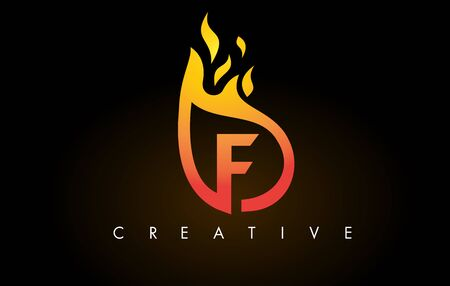Flame F Letter Design Icon with Orange Yellow Colors and Flames  Vector Illustration.