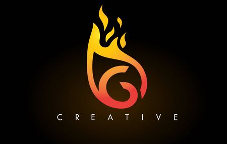 Flame G Letter Design Icon with Orange Yellow Colors and Flames  Vector Illustration. Stock Illustratie