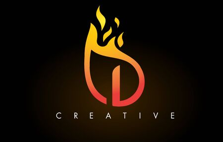 Flame I Letter Design Icon with Orange Yellow Colors and Flames  Vector Illustration.