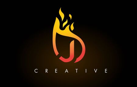 Flame J Letter Design Icon with Orange Yellow Colors and Flames  Vector Illustration.