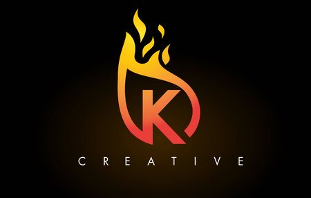 Flame K Letter Design Icon with Orange Yellow Colors and Flames  Vector Illustration.