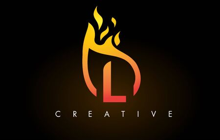 Flame L Letter Design Icon with Orange Yellow Colors and Flames  Vector Illustration. Stock Illustratie