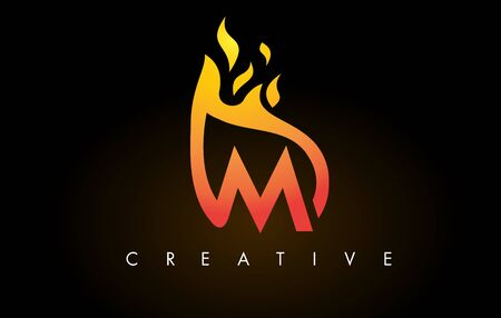 Flame M Letter Design Icon with Orange Yellow Colors and Flames  Vector Illustration. Stock Illustratie