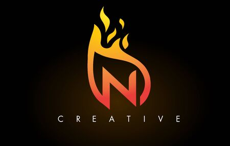 Flame N Letter Design Icon with Orange Yellow Colors and Flames  Vector Illustration.