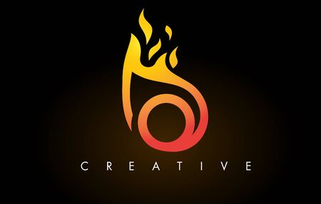 Flame O Letter Design Icon with Orange Yellow Colors and Flames  Vector Illustration.