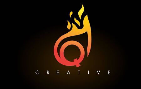 Flame Q Letter Design Icon with Orange Yellow Colors and Flames  Vector Illustration. Stock Illustratie
