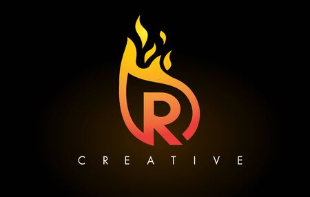 Flame R Letter Design Icon with Orange Yellow Colors and Flames  Vector Illustration.