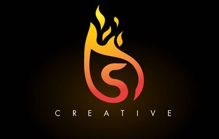 Flame S Letter Design Icon with Orange Yellow Colors and Flames  Vector Illustration.