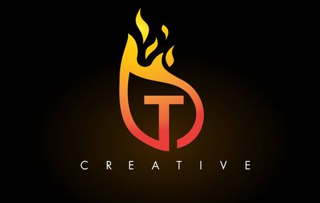 Flame T Letter Design Icon with Orange Yellow Colors and Flames  Vector Illustration.