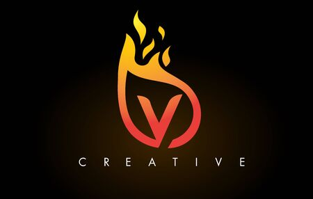 Flame V Letter Design Icon with Orange Yellow Colors and Flames  Vector Illustration. Stock Illustratie