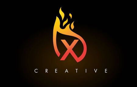 Flame X Letter Design Icon with Orange Yellow Colors and Flames  Vector Illustration. Stock Illustratie