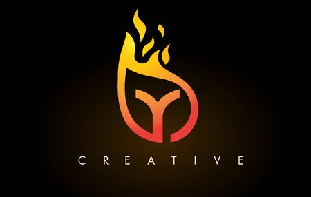 Flame Y Letter Design Icon with Orange Yellow Colors and Flames  Vector Illustration.
