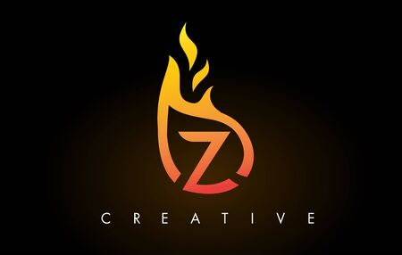 Flame Z Letter Design Icon with Orange Yellow Colors and Flames  Vector Illustration.