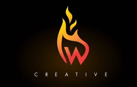 Flame W Letter Design Icon with Orange Yellow Colors and Flames  Vector Illustration.