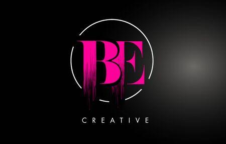 Conception de lettre de coup de pinceau BE rose. Icône de lettres de peinture rose avec un design vectoriel de cercle élégant.