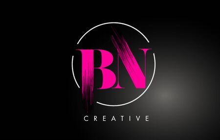 Pink BN Brush Stroke Letter Design. Pink Paint Letters Icon with Elegant Circle Vector Design. Vektoros illusztráció