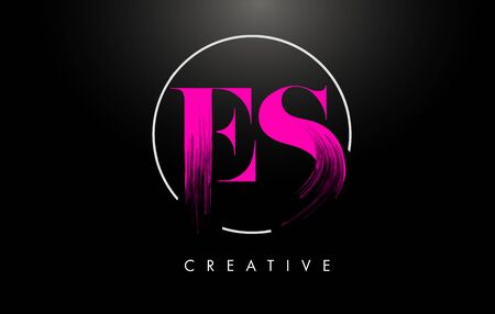 Pink ES Brush Stroke Letter Design. Pink Paint Letters Icon with Elegant Circle Vector Design.