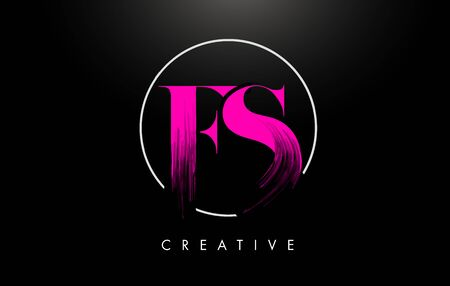 Pink FS Brush Stroke Letter Design. Pink Paint Letters Icon with Elegant Circle Vector Design.