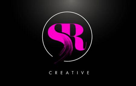 Pink SR Brush Stroke Letter Design. Pink Paint Letters Icon with Elegant Circle Vector Design.