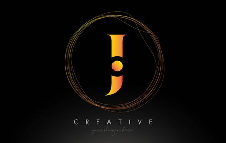 Gold Artistic J Letter Logo Design With Creative Circular Wire Frame around it Vector Illustration.