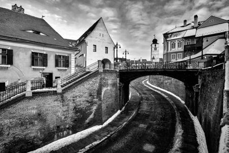 Liars Bridge Architecture in Sibiu Romania Transilvania Black and White Photography