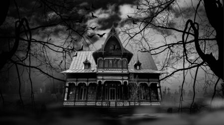 Haunted house with dark scary horror atmosphere Black and White Photography