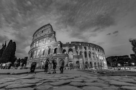 ROME,ITALY - JULY 17,2018 : Tourists Visiting The Colosseum in Rome Italy Black and White Photography