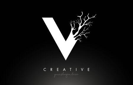 Letter V Design Logo with Creative Tree Branch. V Letter Tree Icon Logo Vector Illustration.