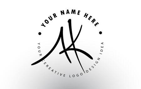 AK Handwritten Letters Logo Design with Circular Letter Pattern. Creative Handwritten Signature Logo Icon Vector Illustration.