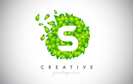 S Green Leaf Logo Design Eco Logo With Multiple Leafs Blowing in the Wind. Icon Vector Illustration.