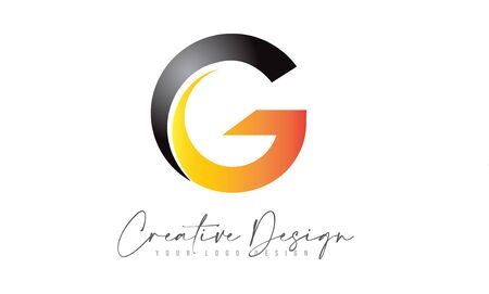 Letter G Logo Design Icon With Modern Creative Orange Swoosh. Modern G letter Design Vector Illustration. Illusztráció