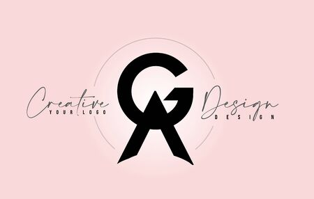 GA Letter Design Icon with Letters one on top of each other Vector Illustration.