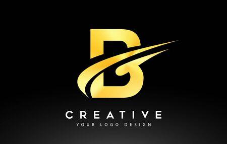 Creative B Letter Logo Design with Brush Swoosh Icon Vector Illustration.