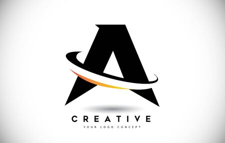 Letter A Swoosh Logo With Creative Curved Swoosh Icon Vector Illustration.