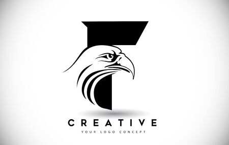 Letter F Eagle Logo Icon with Creative Eagle Head Vector Illustration.