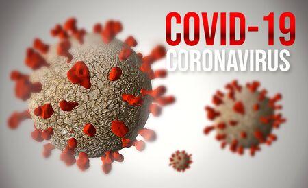 Coronavirus COVID 19 3D Illustration with Red Protein Spikes. Sars COV2 Coronavirus Disease.