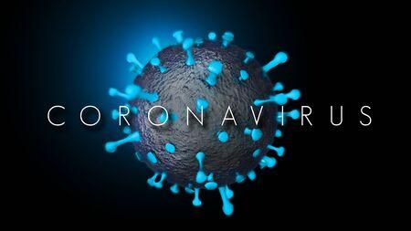 Coronavirus COVID 19 3D Illustration with Red Protein Spikes and Dark Background. Sars COV2 Coronavirus Disease.