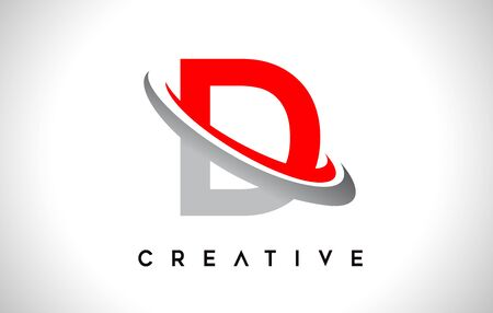 Letter D Logo. D Letter Design Vector with Red Gray Swash VectorIllustration. Logo