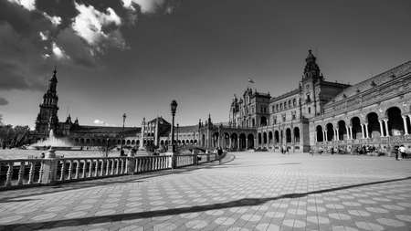 Seville, Spain - 10 February 2020 :Black and White Photography of Plaza de Espana Spain Square Architecture Side View in Beautiful Seville Spain City Center Editorial