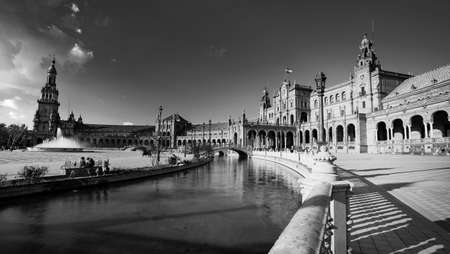 Seville, Spain - 10 February 2020 : Black and White Photography of Plaza de Espana Spain Square with Boats on the Canal in Beautiful Seville Spain City Center Editorial