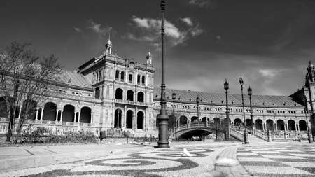 Seville, Spain - 10 February 2020 : Black and White Photography of Plaza de Espana Spain Square Architecture Side View in Beautiful Seville Spain City Center