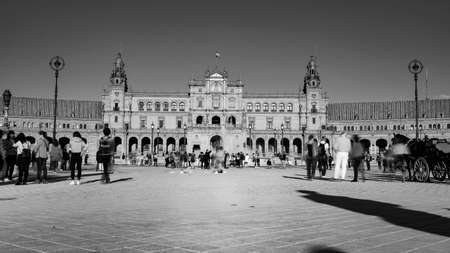 Seville, Spain - 10 February 2020 : Black and White Photography of Plaza de Espana Spain Square Architecture Front View in Beautiful Seville Spain City Center
